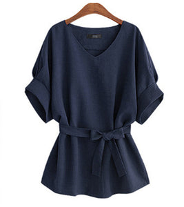 Summer Women Blouses Linen Tunic Shirt V Neck Big Bow Batwing Tie Loose Ladies Blouse Female Top For Tops A073