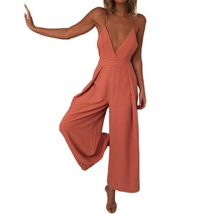 Jumpsuit Women Summer  Casual Loose Long Overalls for Women Orange Romper Bodysuit Pants with Bow