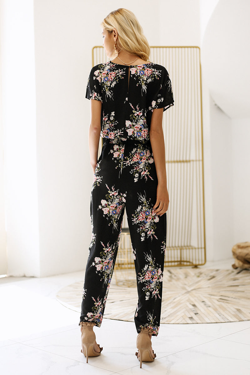 jumpsuit romper V neck short sleeve casual jumpsuit Loose sash summer jumpsuit women overalls