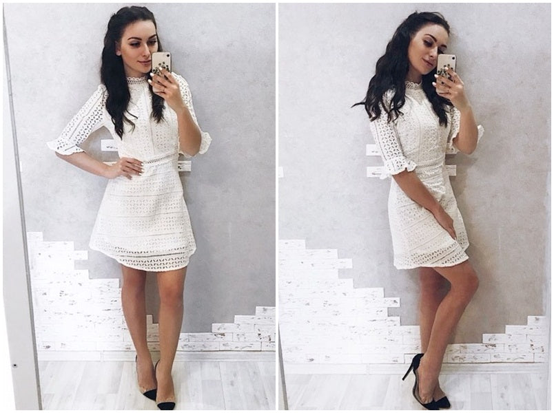 dress women Half sleeve summer style midi white dress 2018 Spring short casual dress vestidos