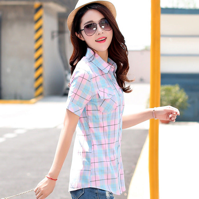 Women Blouse Shirt  Casual Cotton Tops Girl Summer Clothing Shirts