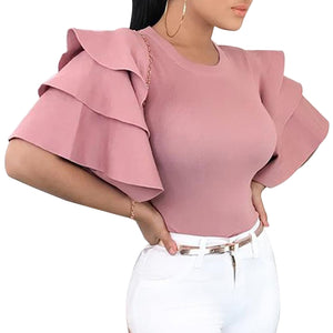 Summer Ruffle Sleeve Blouse Tops Women Elegant Round Neck Slim Office Shirt Ladies Korean Fashion Pink Red