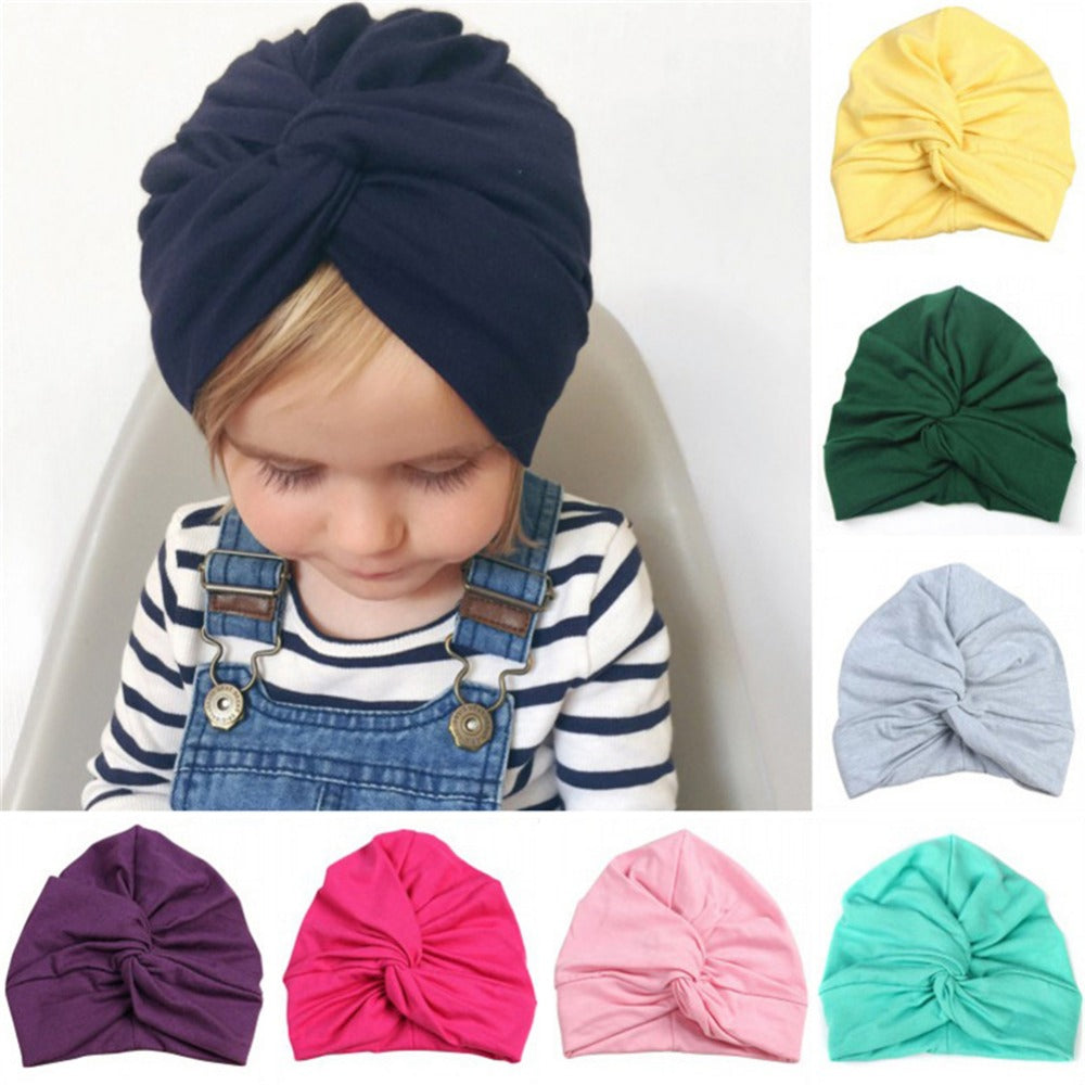 Cute Baby Hat Cotton Soft Turban Knot Girl Summer Hat Bohemian style Kids Newborn Cap for baby girls