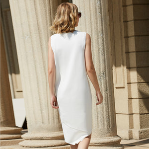Women Minimalist Dress 2018 Summer Office Lady Plus Size Long Back Short Front Elegant Sleeveless O Neck Female Dresses