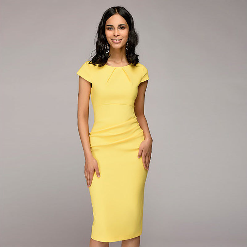 Dress Women Sexy Solid Slim Dress Short Sleeve O-Neck Office Business Dress Elegant Sheath Party Dress Vestidos