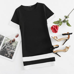 Mini Dresses Workwear Black White Patchwork Crew Neck Short Sleeve Shift Dress