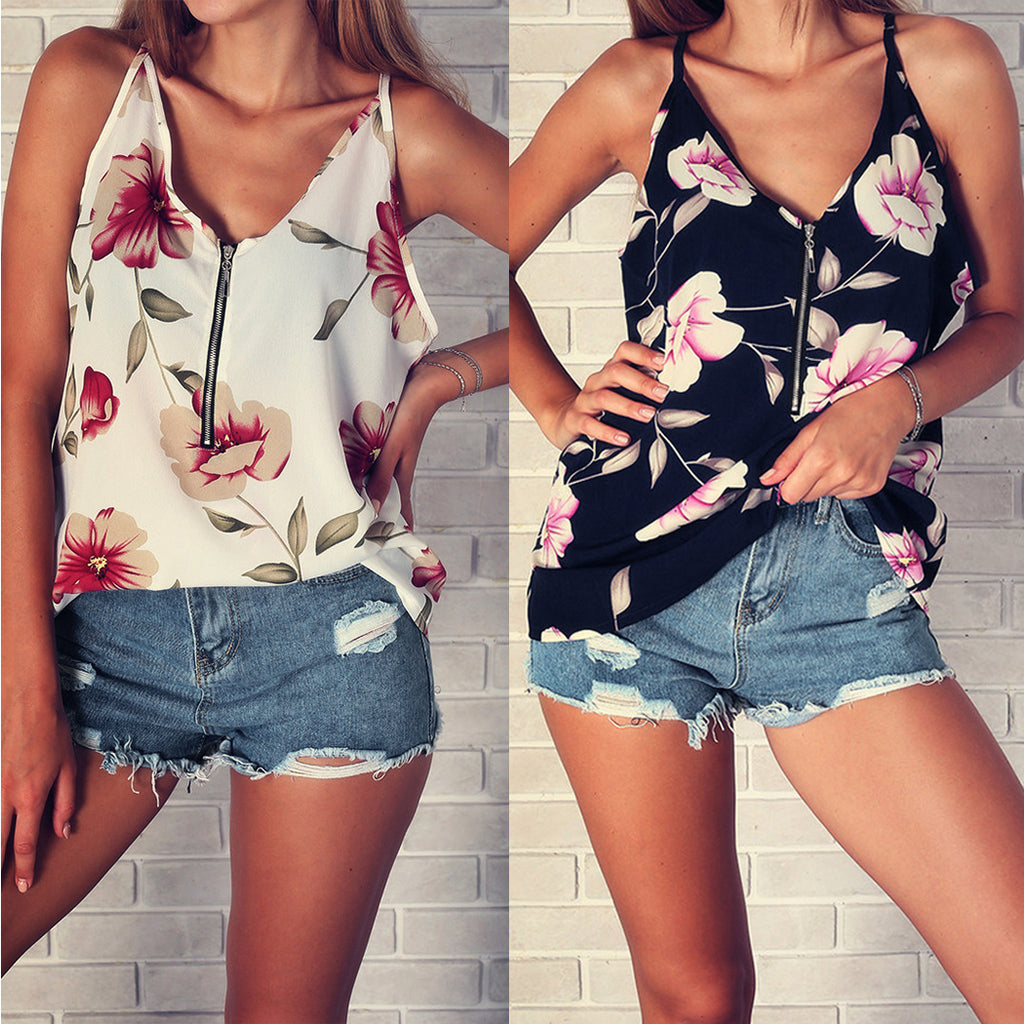 Women Floral Ptinted Camis Vest Fashion Sleeveless Zip Up V-Neck Tee Shirts Blouse Female Camisole Top