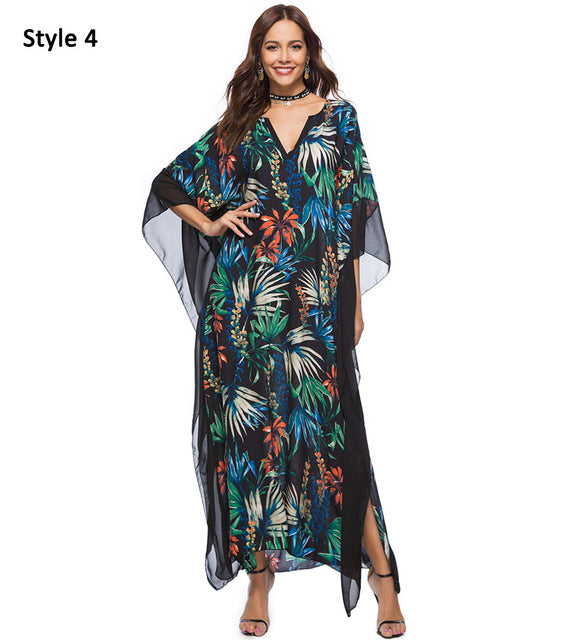 Long Boho Dress Plus Size Summer Chiffon Loose Robe Femme Bohemian Maxi Dresses Large Sizes