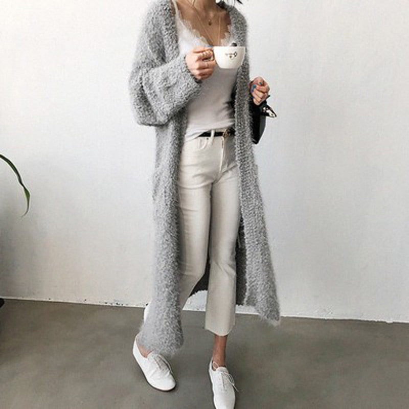 2018 Autumn Winter Women's Clothes Fluffy Shaggy Faux Fur Cardigan 3 Color Slim Long Warm Outwears Sweaters