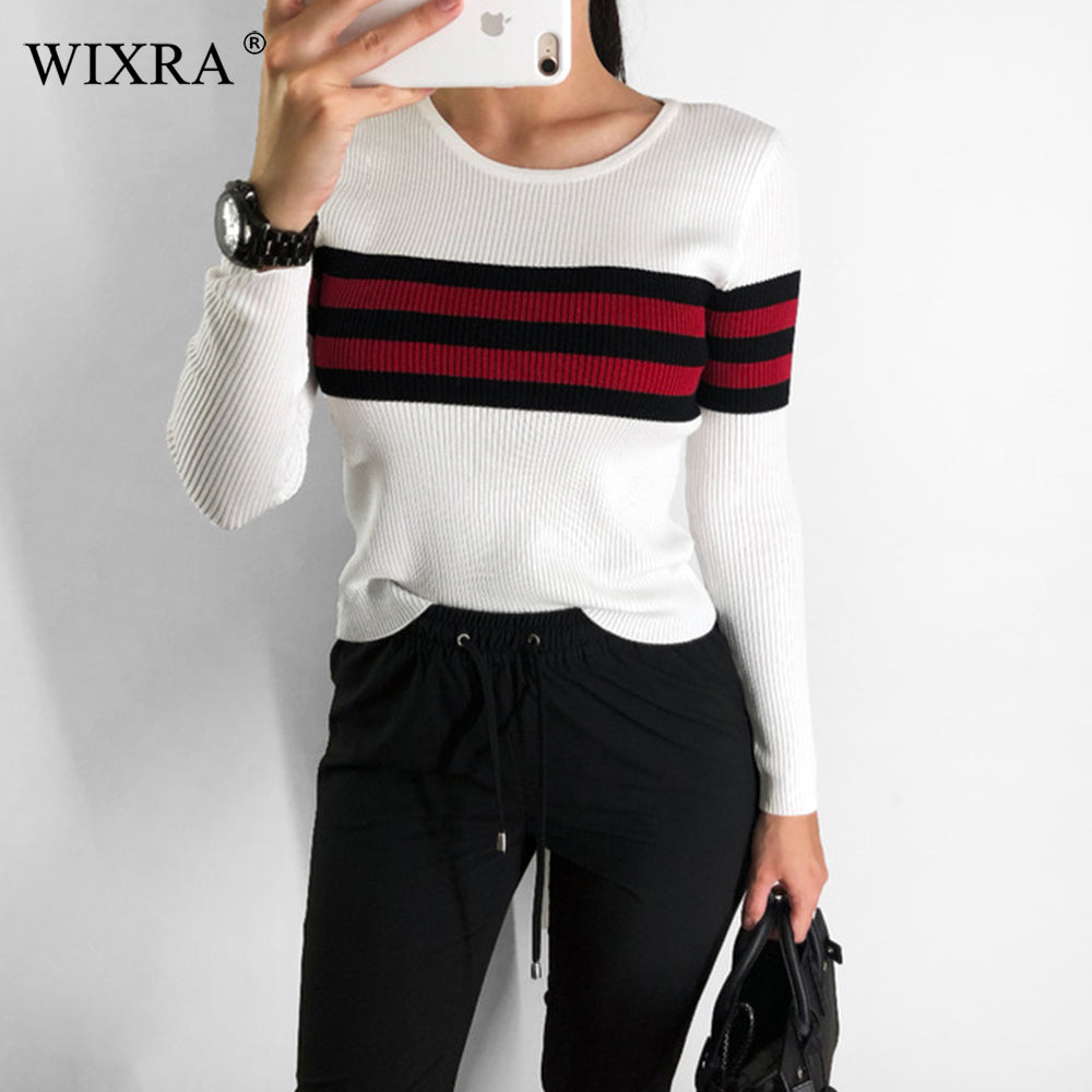 Sweaters Slim O Neck Striped Sweater All Base Match Knitted Women's Clothing Autumn Winter New