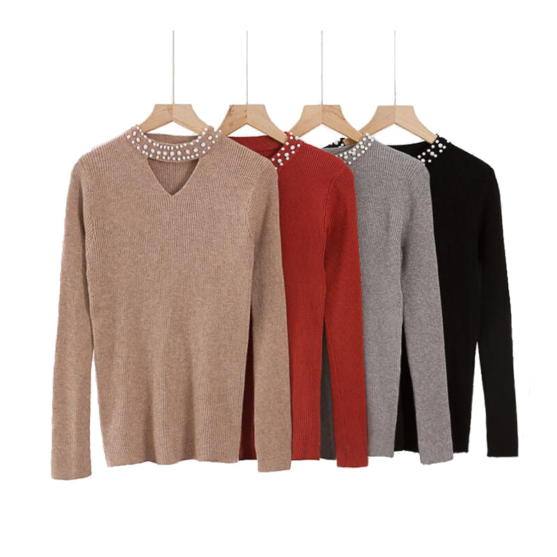 Autumn Slim Pearls Sweater Women Halter Knit Pollover Sweater Sexy Winter Solid Tops Slim V Neck Long Sleeve Chic Jumper