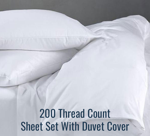 200 TC Percale Sheet Set (With Duvet Cover) - Ace Size