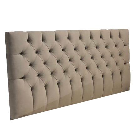 Velvet Cocoa Straight Tufted Headboard - Player Size