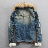 Denim Jacket With Fur Collar, Alphalifestyle.shop - Alphalifestyle.shop