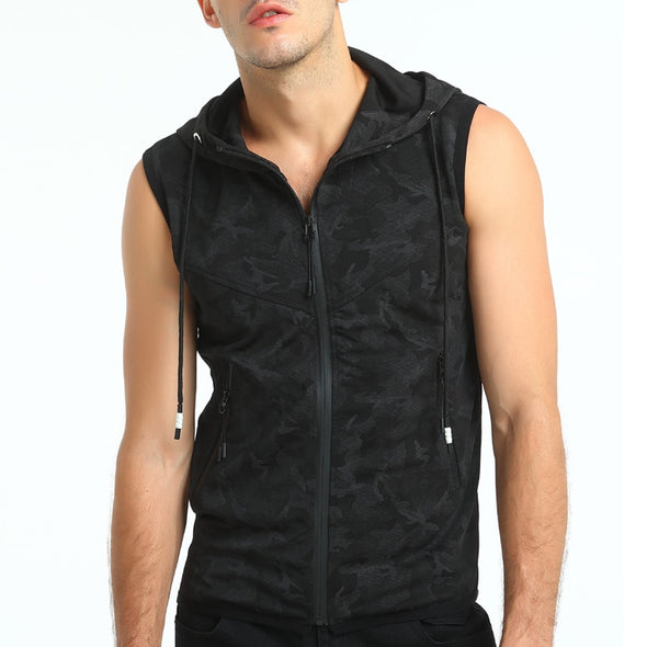 Solid Dark Hooded Tank