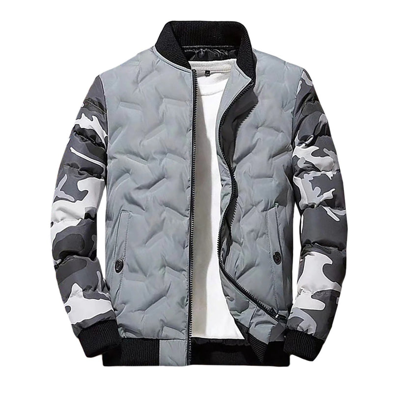 Camo Sleeve Padded Bomber Jacket