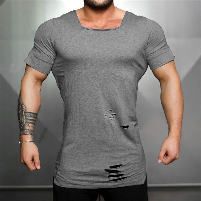 Solid Ripped T-Shirt