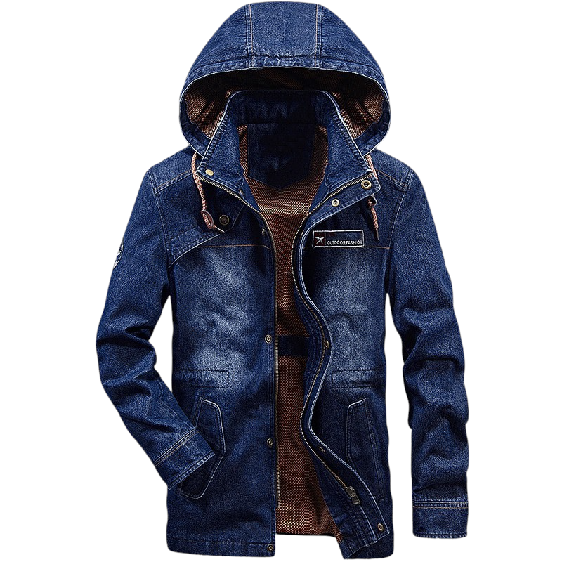 Mid-Long Hooded Denim Jacket