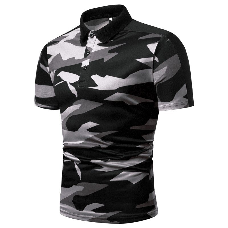 Camouflage Buttoned Polo Shirt