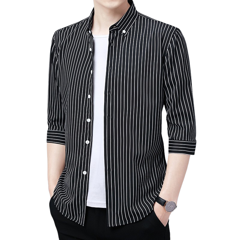 Basic Striped Button Shirt