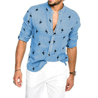 Flamingo Collarless Button-Up Shirt
