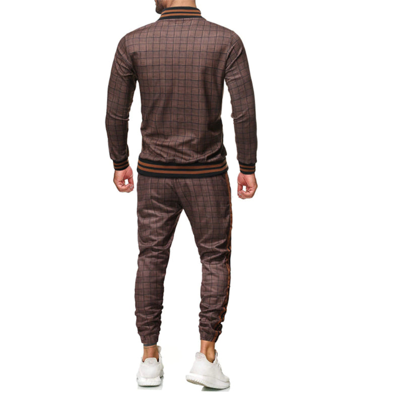 Plaid Zipper-Top Tracksuit Set