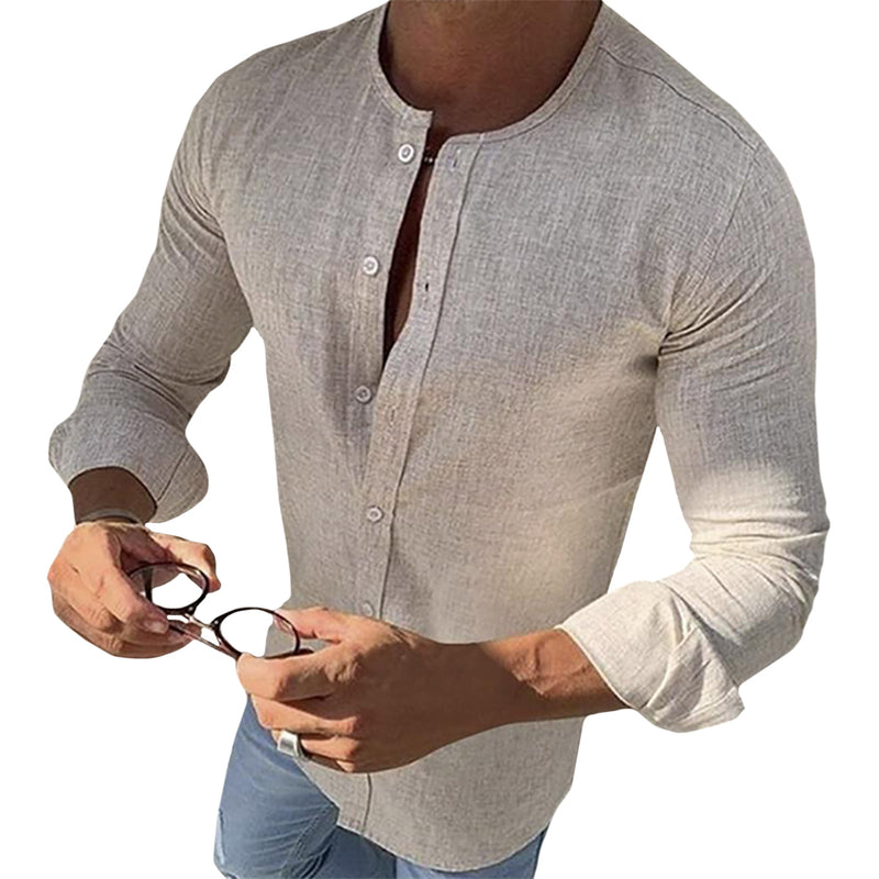 Mandarin Collar Long Sleeve Button Shirt