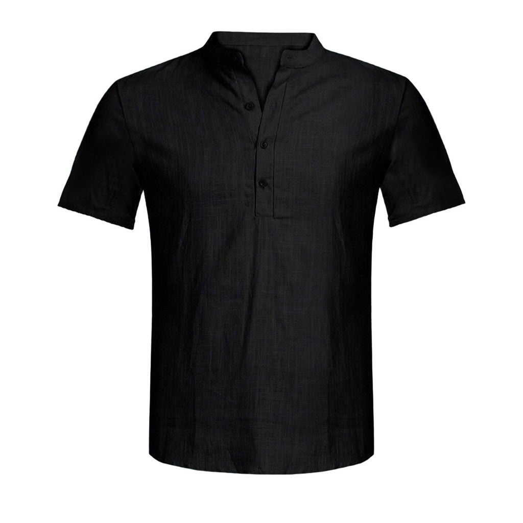 Cotton Blend Short Sleeve Grandad Collar Shirt