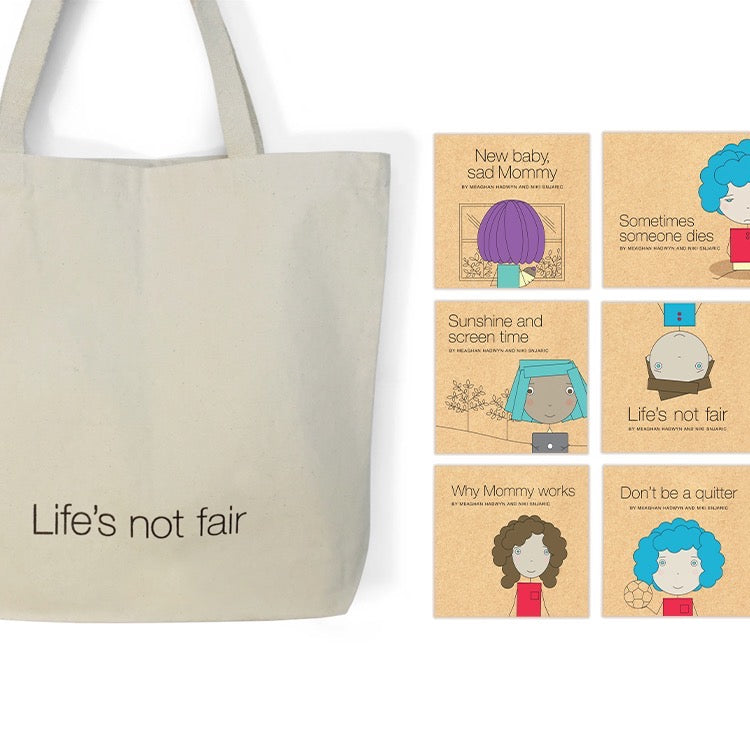 Life not fair tote bag with six honest children's books