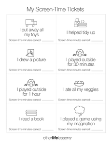 My Screen-Time Tickets (Free Printable)