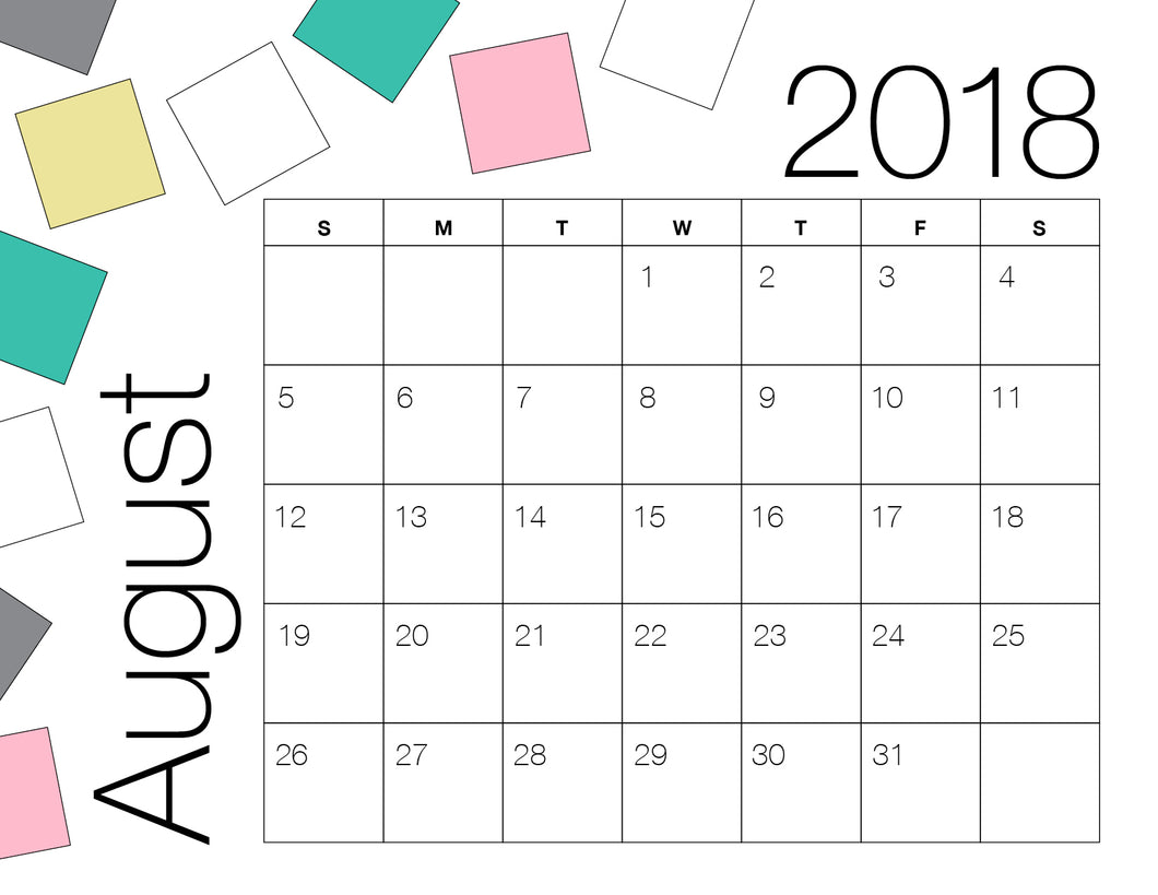 August Calendar Colour (Free Printable)