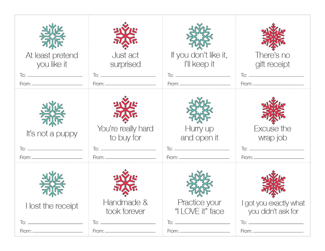 Holiday Gift Tags (Free Printable)