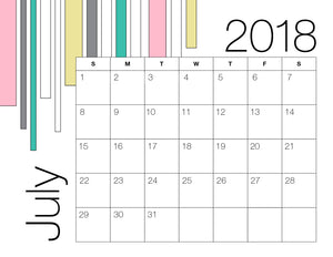 July Calendar Colour (Free Printable)