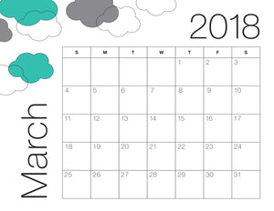 March Calendar Colour (Free Printable)