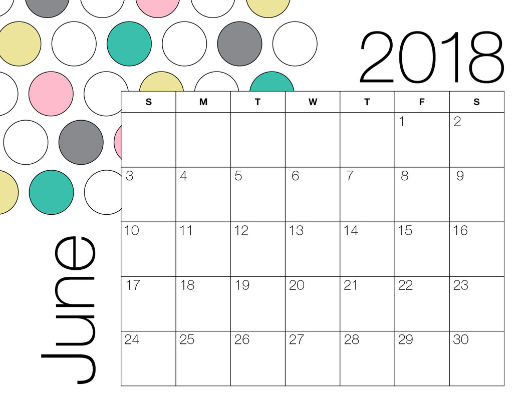 June Calendar Colour (Free Printable)