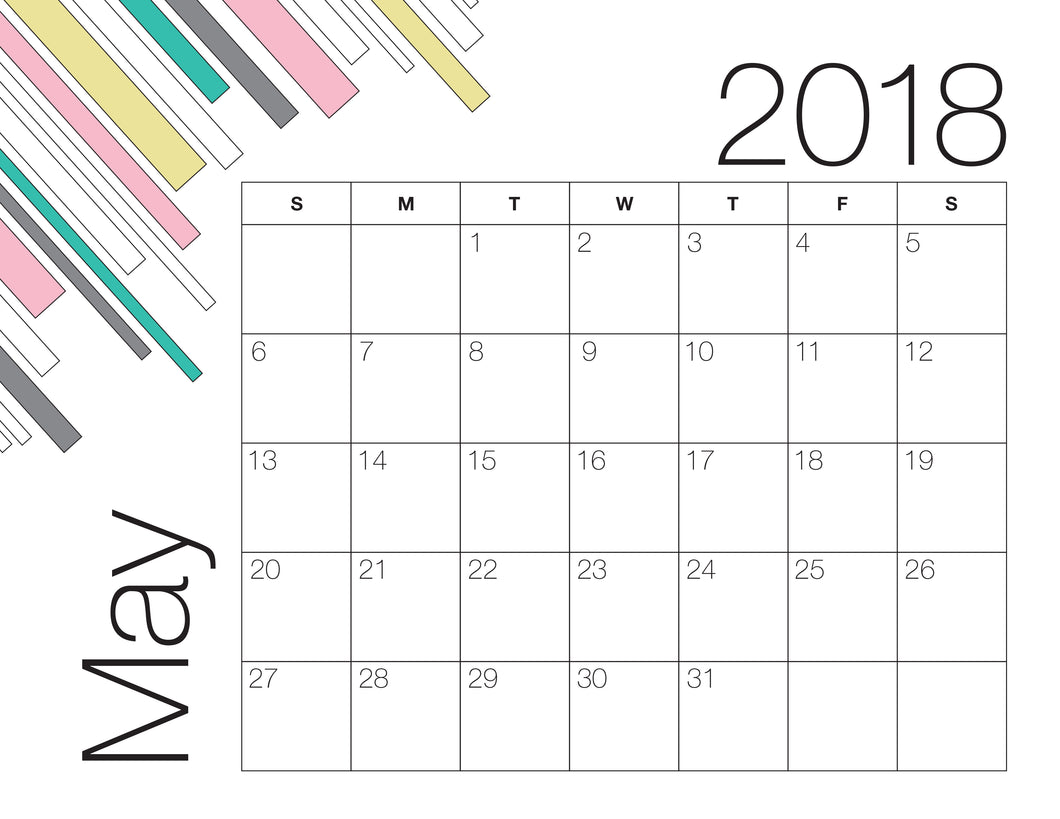May Calendar Colour (Free Printable)