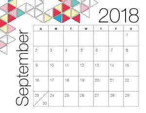 September Calendar Colour (Free Printable)