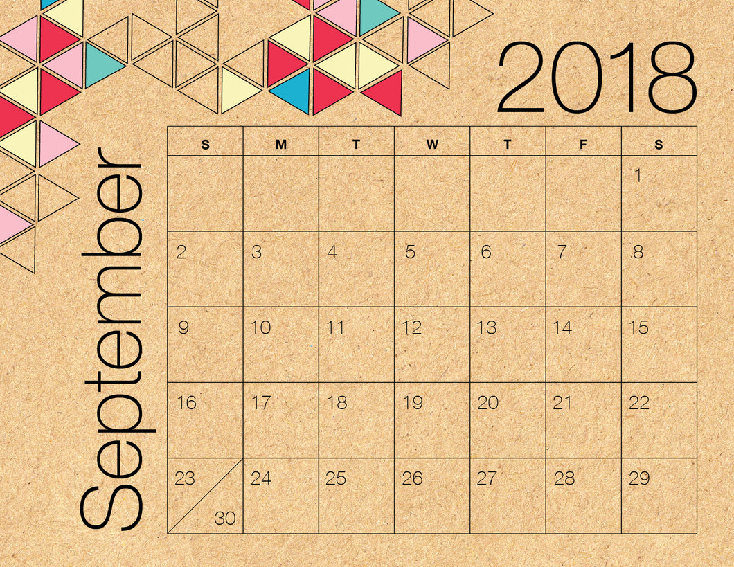 September Calendar Kraft (Free Printable)