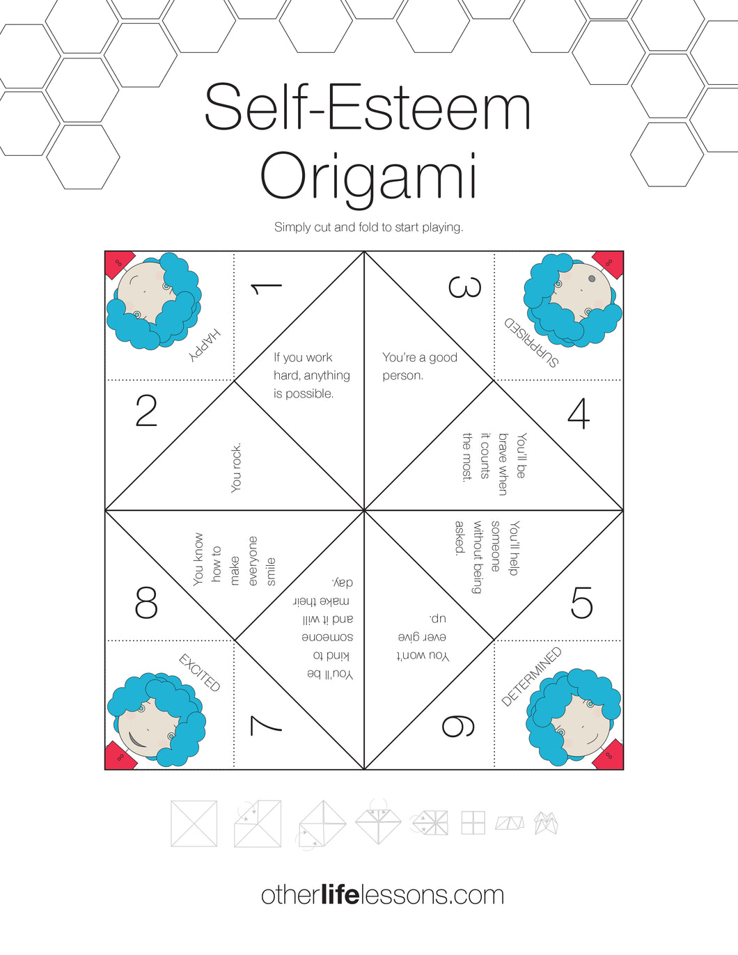 Self Esteem Origami Game Free Printable Other Life Lessons