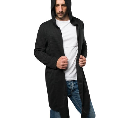 Longline Black Hooded Cardigan