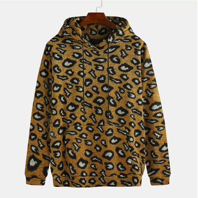 Knitted Leopard Print Hoodie