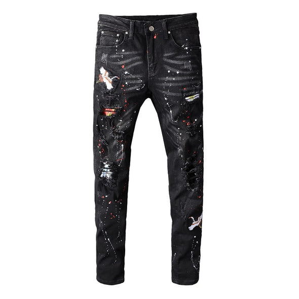 Paint Splatter Black Jeans