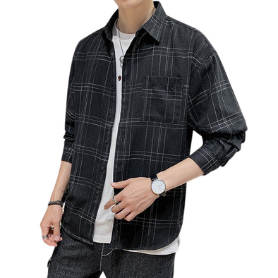 Light Plaid Button-Down Shirt