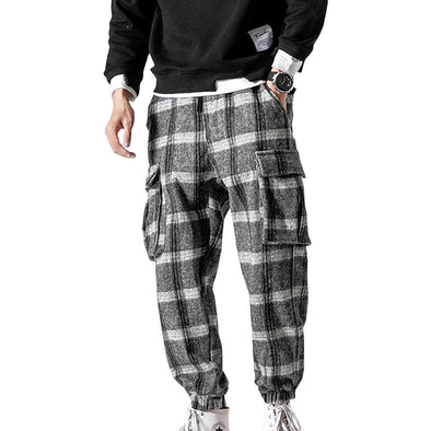 Casual Plaid Cargo Joggers