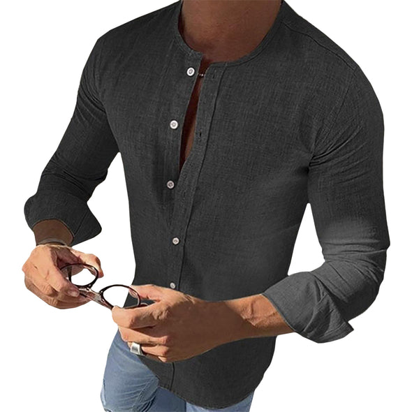 O-Neck Button-Down Shirt