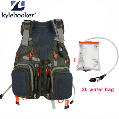 Kylebooker Fly Fishing Vest with Backpack +2L Hydration Water Reservoir Bag