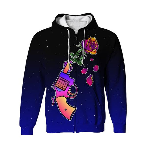 Gun n' Rose Zip Up Hoodie