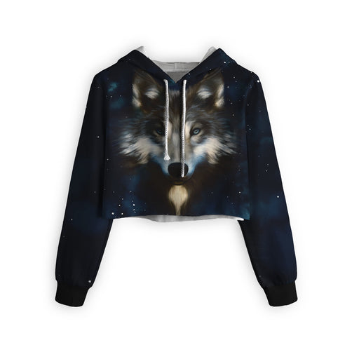 Wolf In Night Cropped Hoodie