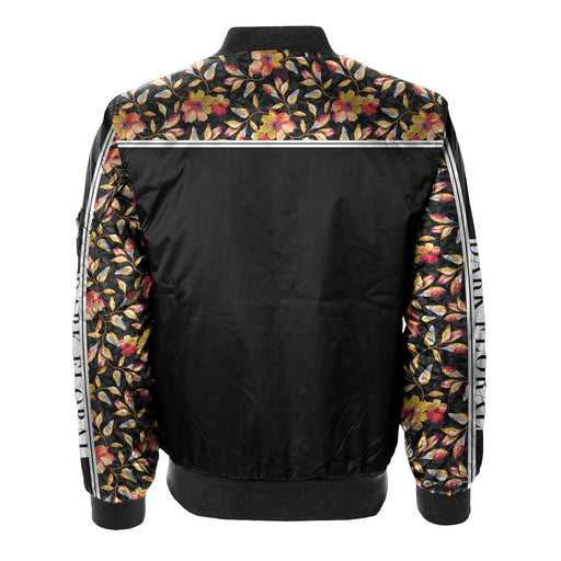 Golden Floral Bomber Jacket