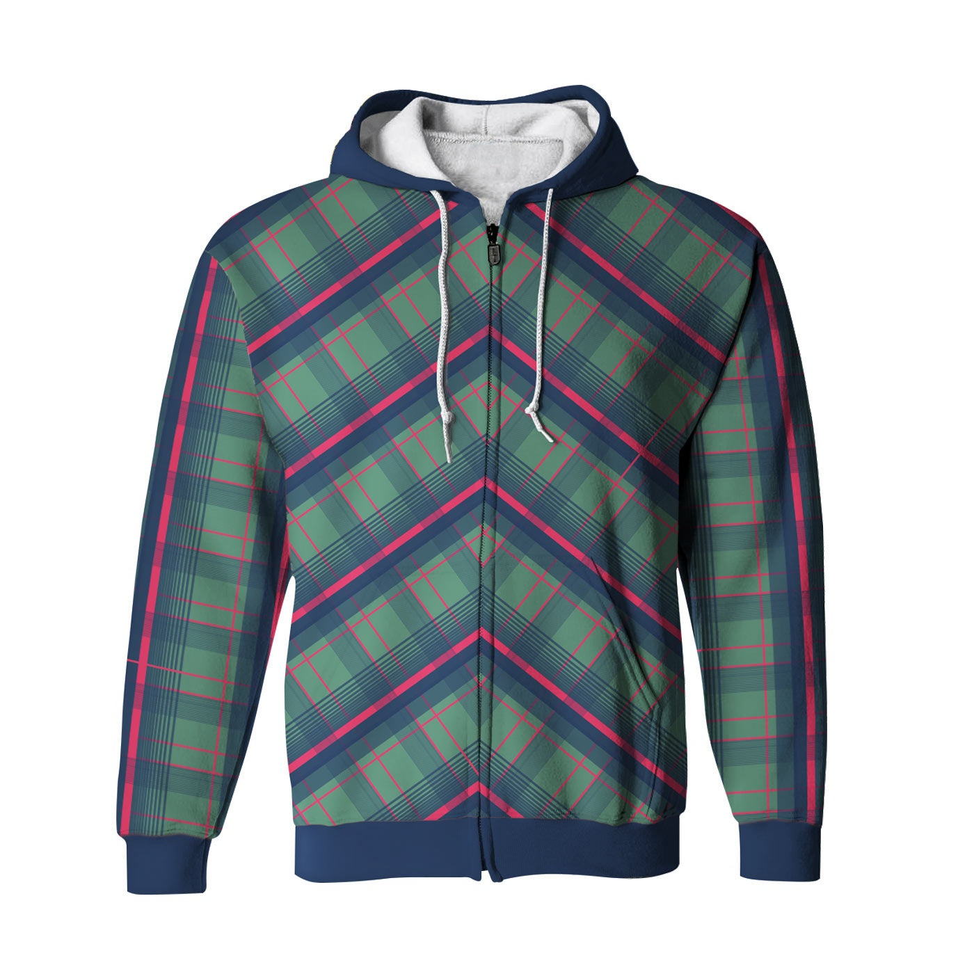 Mid Plaid Zip Up Hoodie